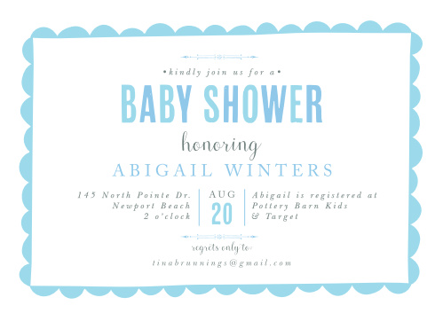 A playful border frames your text on the Sweet Scallops Boy Baby Shower Invitations.