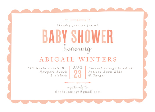 A playful border frames your text on the Sweet Scallops Girl Baby Shower Invitations.