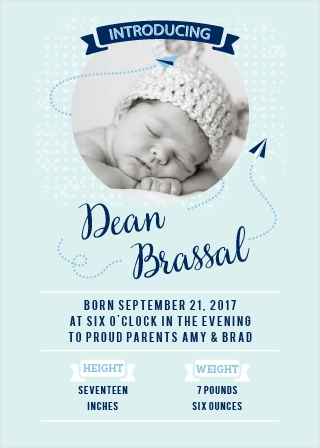 Planes zip around your newborn's photo on the Paper Planes Birth Announcements.