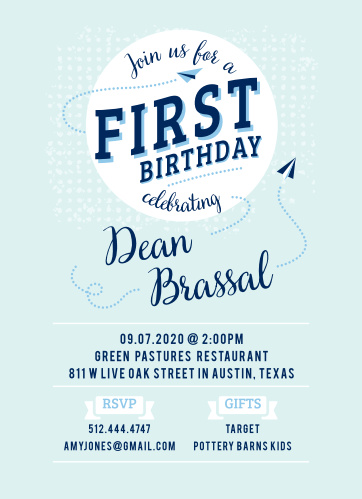 Planes zip around the Paper Planes First Birthday Invitations.