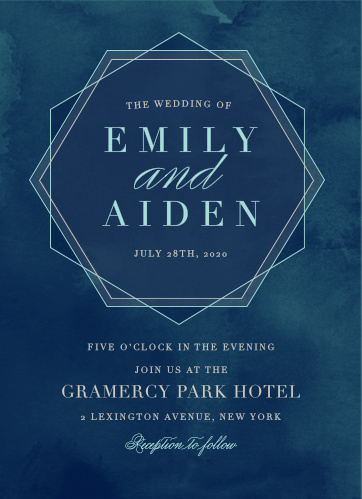 Frame your names and wedding date in a chic hexagon on the Geometric Dreams Wedding Invitations.