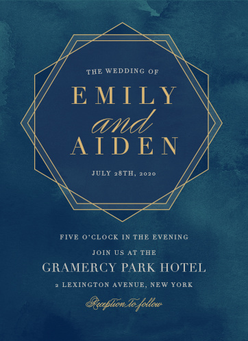 Frame your names and wedding date in a chic hexagon on the Geometric Dreams Foil Wedding Invitations.