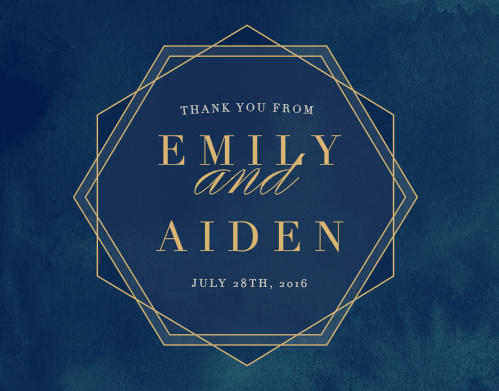 Frame your thanks with the chic hexagon of the Geometric Dreams Foil Thank You Cards.