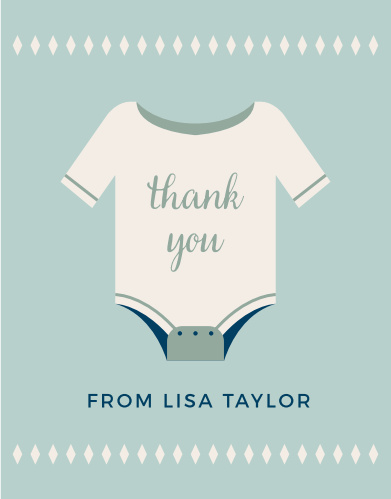 A cute onesie conveys your gratitude on the Illustrated Info Boy Baby Shower Theme.