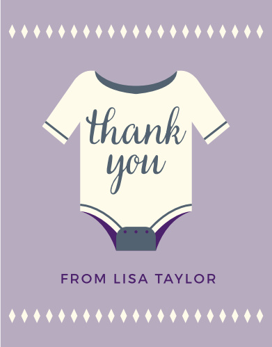 A cute onesie conveys your gratitude on the Illustrated Info Girl Baby Shower Theme.