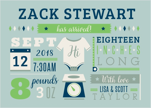 Give friends and family all the details with the Illustrated Info Boy Birth Announcements.