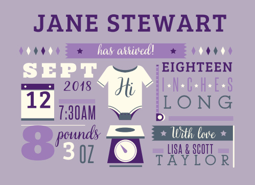 Give friends and family all the details with the Illustrated Info Girl Birth Announcements.