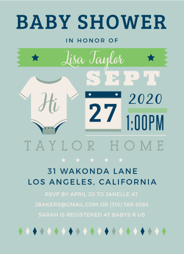 Give guests all the details with the Illustrated Info Boy Baby Shower Invitations.