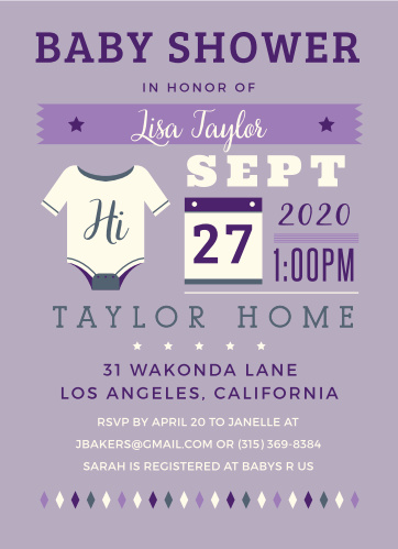 Give guests all the details with the Illustrated Info Girl Baby Shower Invitations.