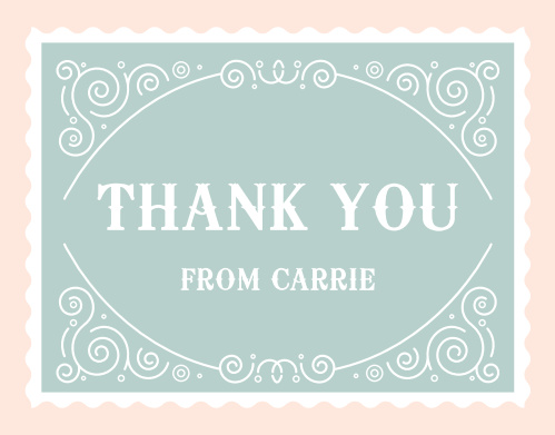 Vintage fonts and whimsical accents mix on the Frilly Fairgrounds Thank You Cards.