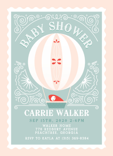 A beautiful striped balloon carries a baby on the Frilly Fairgrounds Baby Shower Invitations.