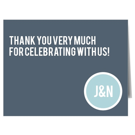 The Circled Monogram thank you card is chic and modern! It features a logo circle i n the lower right and room to thank all your guests.