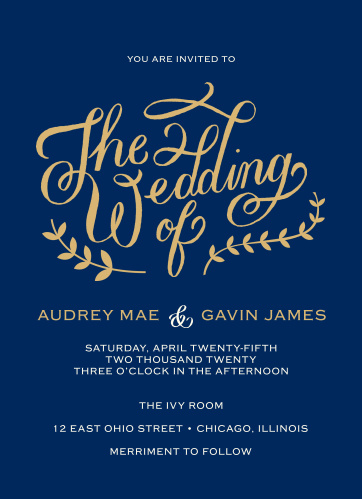 Vines accent the beautiful calligraphy of the Lovely Lettering Foil Wedding Invitations.