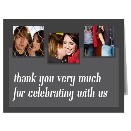 The Cascading Photo thank you card is retro and urban! It features 3 photos along the top and plenty of room to write a personal note of thanks to your guests!