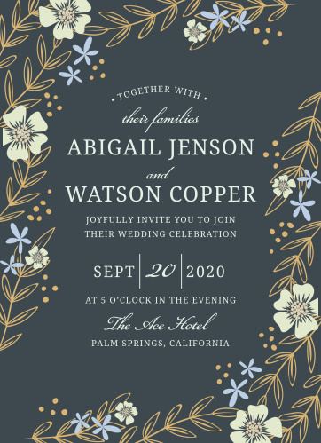 Whimsical flowers seem to sway on the Radiant Garden Foil Wedding Invitations.