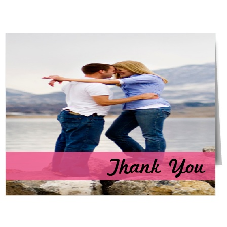 The Colorful Band thank you card give you a nice large space for a photo and a lower banner to thank your guests!