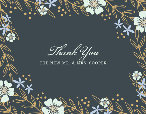 Whimsical flowers seem to sway on the Radiant Garden Foil Thank You Cards.