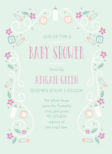 Bottles, blocks, and safety pins mingle with florals and swirls to make a playful border on the ABC Blocks Baby Shower Invitations.