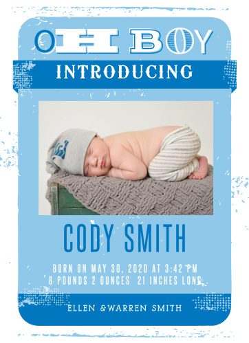 Share your new little bundle of joy with the Oh Boy Birth Announcements.