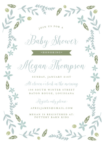 Leaves, flowers, and olives make a festive border on the Wild Garden Baby Shower Invitations.