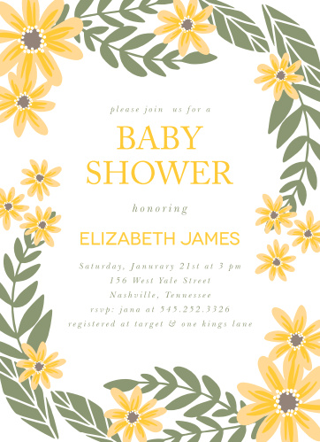 Bright flowers surround your text on the Sunny Flowers Baby Shower Invitations.