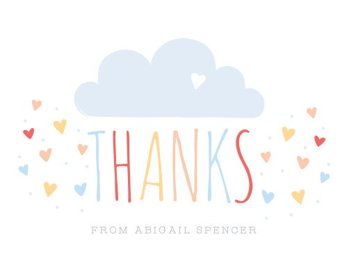 Doodle hearts rain down from a cheery raincloud on the Sprinkled With Love Thank You Cards.