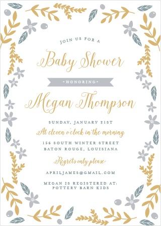 Wild Garden Foil Baby Shower Invitations