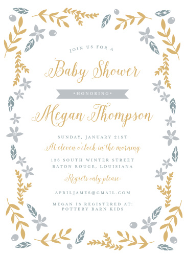 Leaves, flowers, and olives with gold or silver foil details make a festive border on the Wild Garden Foil Baby Shower Invitations.