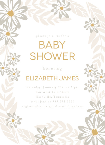Bright flowers surround your text on the Sunny Flowers Foil Baby Shower Invitations.