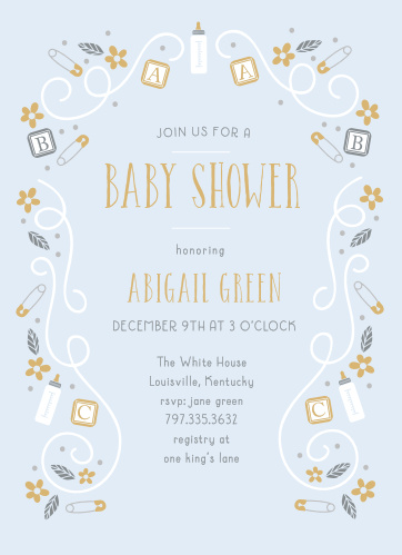 Bottles, blocks, and safety pins mingle with florals and swirls to make a playful border on the ABC Blocks Foil Baby Shower Invitations.