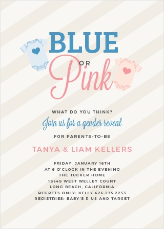 Gender reveal baby shower invitations match your color style free the big reveal baby shower invitations stopboris Image collections