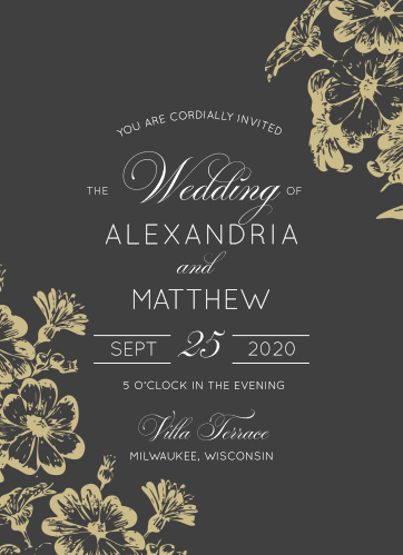 Beautiful flowers grace the corners of the Vintage Blooms Wedding Invitations.