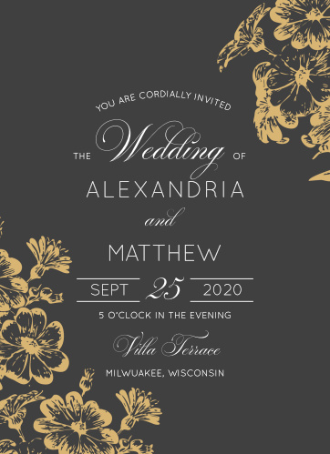 Beautiful flowers grace the corners of the Vintage Blooms Foil Wedding Invitations.