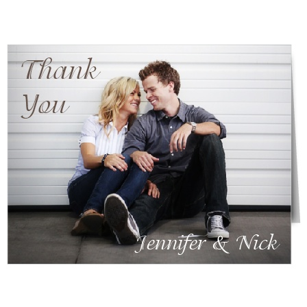 The Happy Couple thank you card lets you show off the newlyweds with this full photo card!