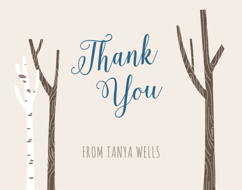 Illustrated trees flank your greeting on the Windy Day Thank You Cards.