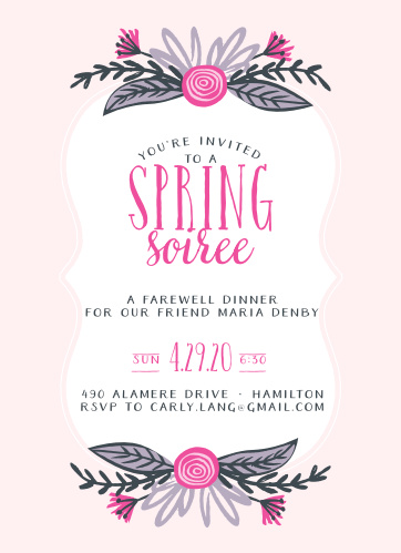 Sweet florals decorate the top and the bottom of a scallop frame on the Spring Soiree Celebration Invitations.