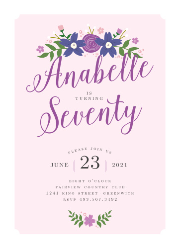 A thick scallop frame and gorgeous floral details decorate the Country Club Milestone Birthday Party Invitations.