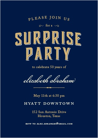 Spectacular Surprise Foil Party Invitations