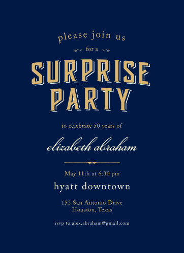 Prepare friends and family for the birthday surprise of the year with the Spectacular Surprise Foil Milestone Birthday Party Invitations.