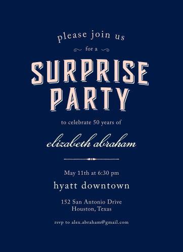 Prepare friends and family for the birthday surprise of the year with the Spectacular Surprise Milestone Birthday Party Invitations.