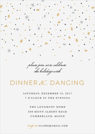 Invite friends and family for a magical night of dinner and dancing with the Twilight Twinkle Foil Party Invitations.
