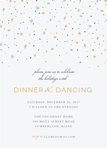 Invite friends and family for a magical night of dinner and dancing with the Twilight Twinkle Foil Holiday Party Invitations.