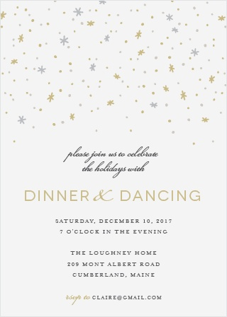 Invite friends and family for a magical night of dinner and dancing with the Twilight Twinkle Party Invitations.
