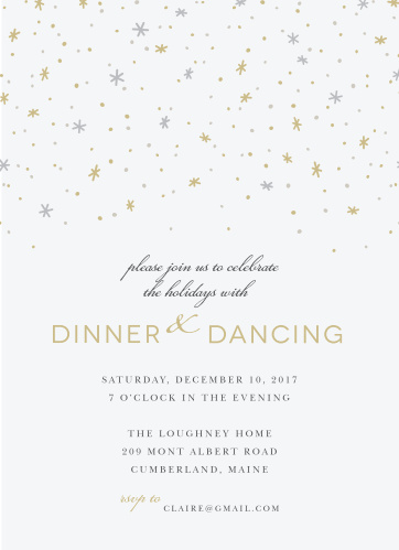 Invite friends and family for a magical night of dinner and dancing with the Twilight Twinkle Holiday Party Invitations.