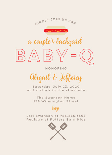 Invite friends and family to honor both parents-to-be at a backyard party with the Baby-Q Baby Shower Invitations.