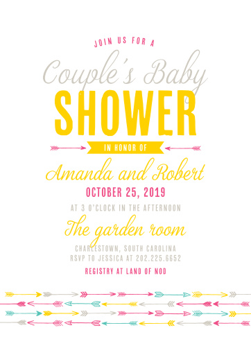 Trendy arrows accent your text on the Couple's Shower Baby Shower Invitations.