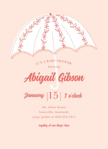 An umbrella festooned with flowers gives the Garden Rain Baby Shower Invitations a whimsical feel.