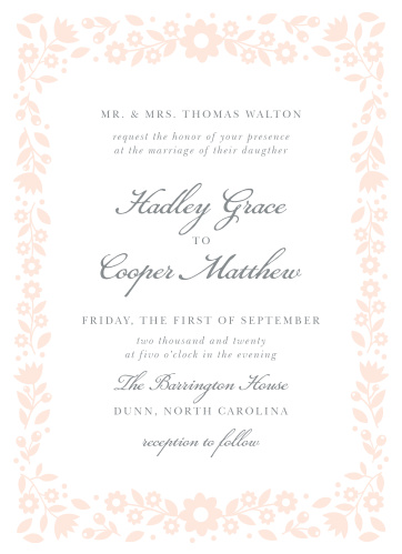 Delicate flowers create a whimsical frame on the Floral Frame Wedding Invitations.