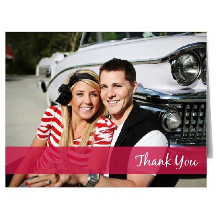 The Fading Photo thank you card features a large photo as the background. A colored strip of your choice is lower on the card and will allow you to say