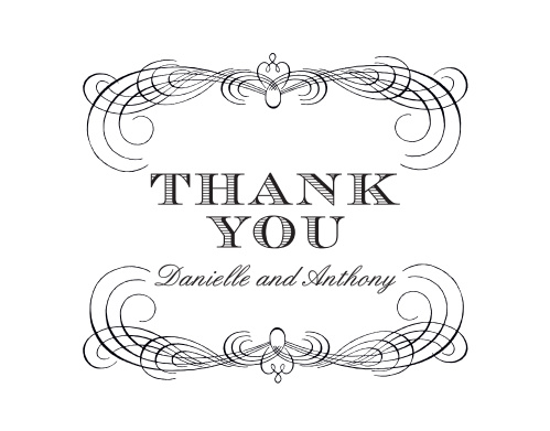 Ornate scallops and swirls frame the Lovely Vintage Thank You Cards.